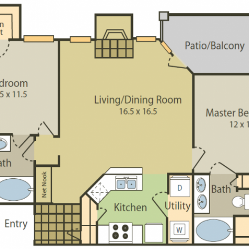 Picasso Floor Plan | 2 Bedroom with 2 Bath | 1032 Square Feet | Stonebriar of Frisco | Apartment Homes