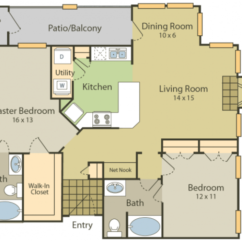Renoir Floor Plan | 2 Bedroom with 2 Bath | 1157 Square Feet | Stonebriar of Frisco | Apartment Homes