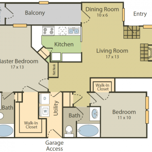 Botticelli A Floor Plan | 2 Bedroom with 2 Bath | 1205 Square Feet | Stonebriar of Frisco | Apartment Homes
