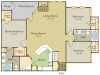 Da Vinci Floor Plan 1 | 3 Bedroom with 2 Bath | 1383 Square Feet | Stonebriar of Frisco | Apartment Homes