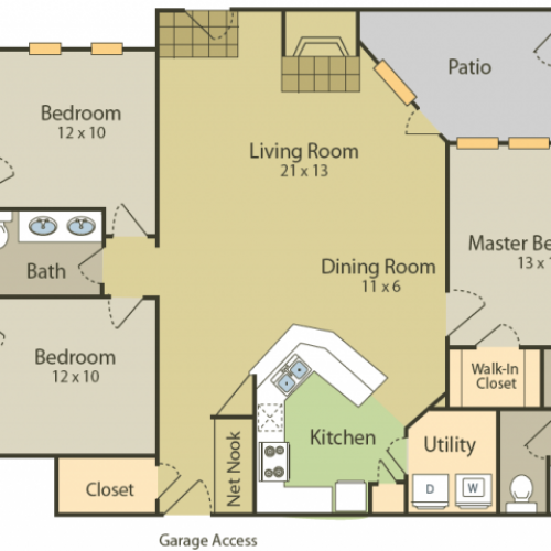 Da Vinci Floor Plan 2 | 3 Bedroom with 2 Bath | 1383 Square Feet | Stonebriar of Frisco | Apartment Homes