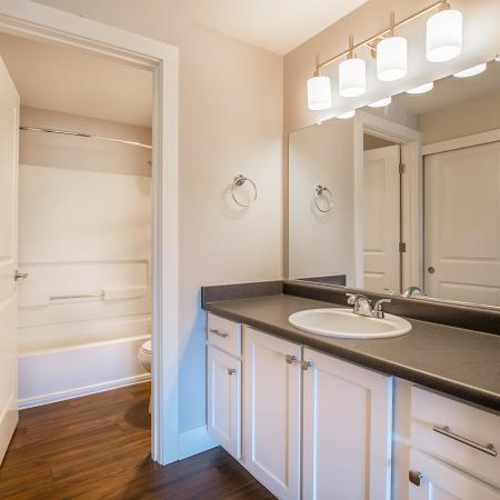View of Renovated Apartment Interior, Showing Bathroom with Single Vanity, Cabinets, and Plank Flooring at Scott Mountain Apartments