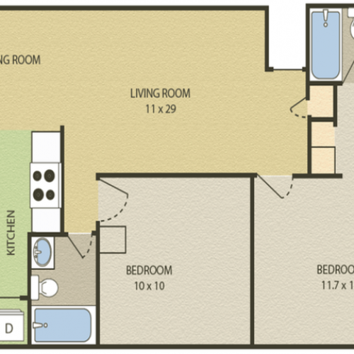 Lexington Floor Plan | 2 Bedroom with 2 Bath | 948 Square Feet | Camelot  | Apartment Homes