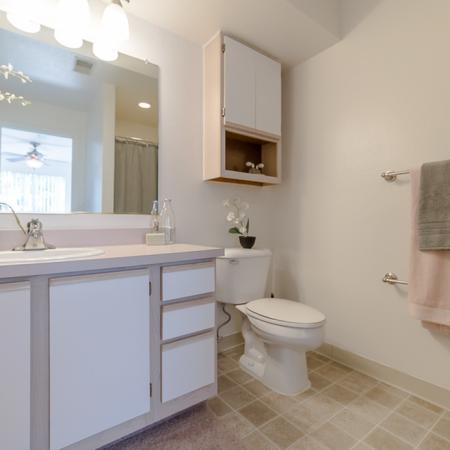 View of Bathroom, Showing Single Vanity, Large Mirror, Storage, and Tile Flooring at Clearview Apartments