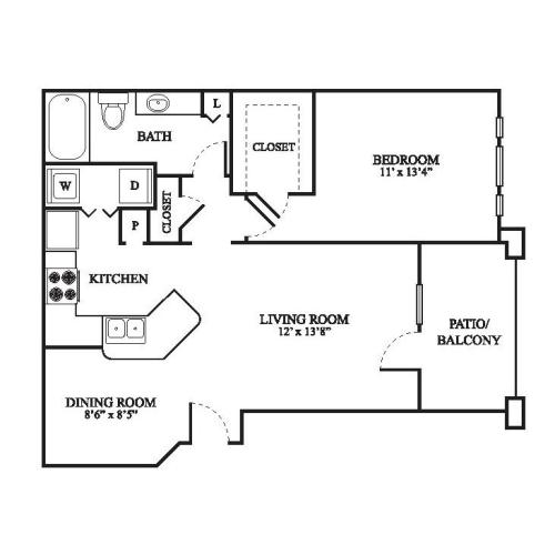 A Floor Plan | 1 Bedroom with 1 Bath | 801 Square Feet | The Raveneaux | Apartment Homes