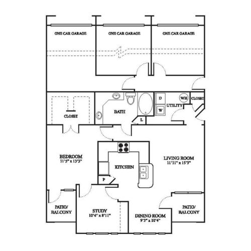 C1 Floor Plan | 1 Bedroom with 1 Bath | 1032 Square Feet | The Raveneaux | Apartment Homes