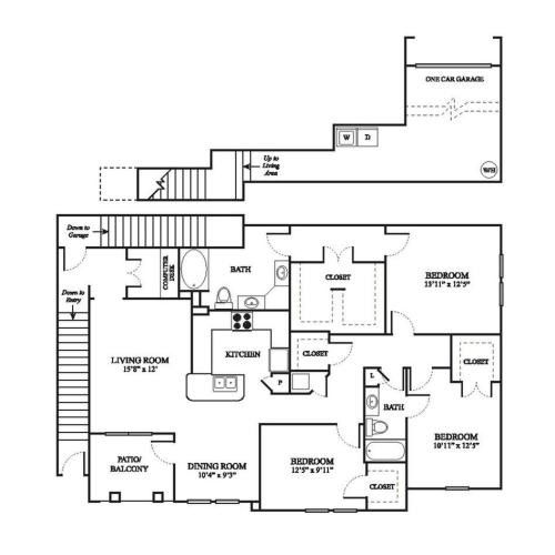 F3 Floor Plan | 3 Bedroom with 2 Bath | 1663 Square Feet | The Raveneaux | Apartment Homes