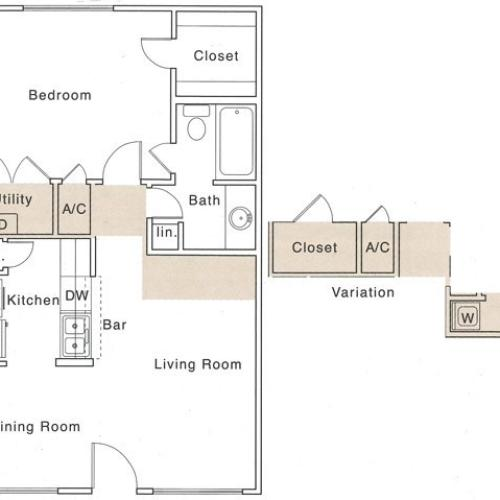 A Floor Plan | 1 Bedroom with 1 Bath | 658 Square Feet | The Regatta | Apartment Homes