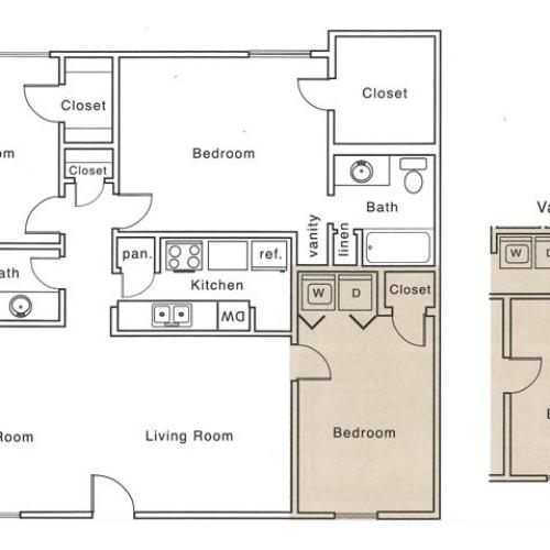 I2 Floor Plan | 3 Bedroom with 2 Bath | 1227 Square Feet | The Regatta | Apartment Homes