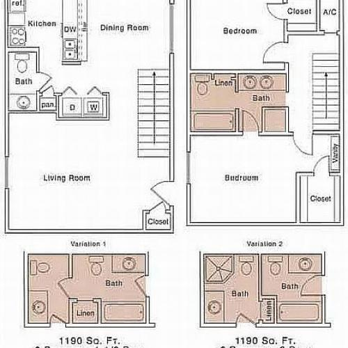 H2 Floor Plan | 2 Bedroom with 2.5 Bath | 1190 Square Feet | The Regatta | Apartment Homes