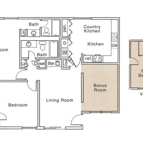 J Floor Plan | 2 Bedroom with 2 Bath | 1250 Square Feet | The Regatta | Apartment Homes