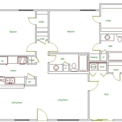 I Floor Plan | 2 Bedroom with 2 Bath | 1194 Square Feet | The Regatta | Apartment Homes