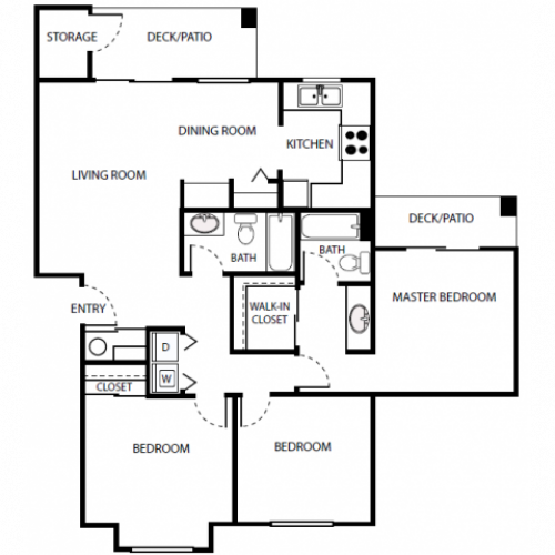 C1 Floor Plan | 3 Bedroom with 2 Bath | 1072 Square Feet | Scott Mountain | Apartment Homes