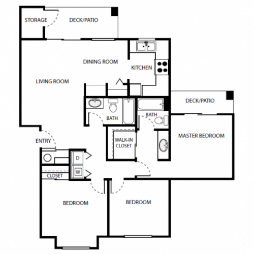 C2 Floor Plan | 3 Bedroom with 2 Bath | 1095 Square Feet | Scott Mountain | Apartment Homes