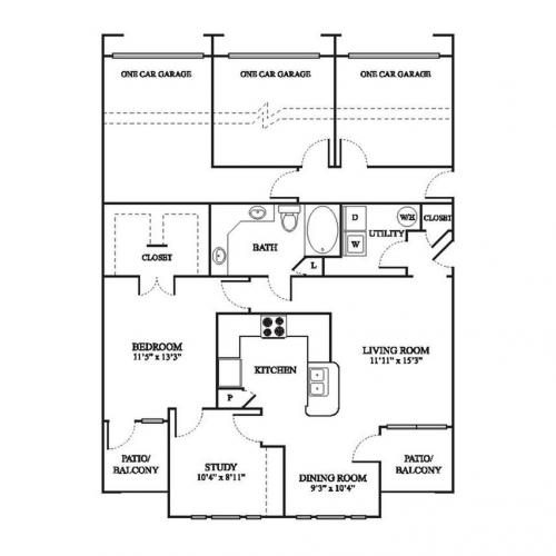 C1 Renovated Floor Plan | 1 Bedroom with 1 Bath | 1032 Square Feet | The Raveneaux | Apartment Homes