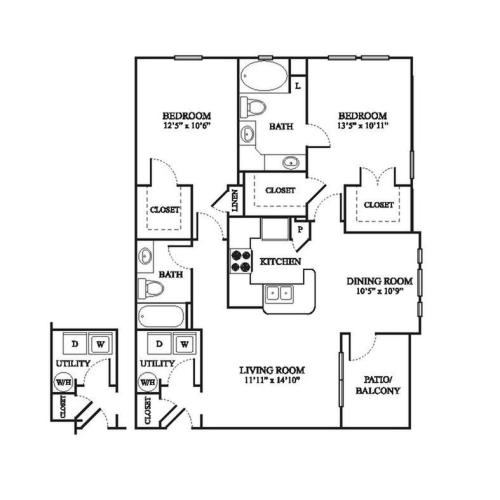 D Renovated Floor Plan | 2 Bedroom with 2 Bath | 1138 Square Feet | The Raveneaux | Apartment Homes
