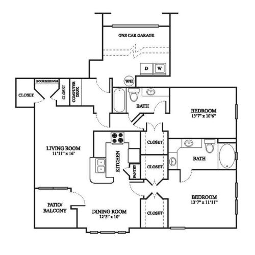 E1 Renovated Floor Plan | 2 Bedroom with 2 Bath | 1259 Square Feet | The Raveneaux | Apartment Homes