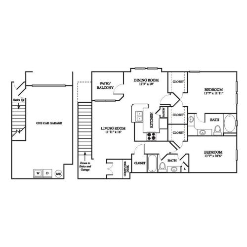 E2 Renovated Floor Plan | 2 Bedroom with 2 Bath | 1323 Square Feet | The Raveneaux | Apartment Homes