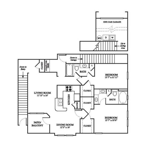 E3 Renovated Floor Plan | 2 Bedroom with 2 Bath | 1355 Square Feet | The Raveneaux | Apartment Homes