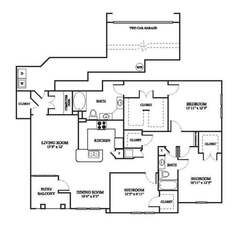 F1 Renovated Floor Plan | 3 Bedroom with 2 Bath | 1575 Square Feet | The Raveneaux | Apartment Homes