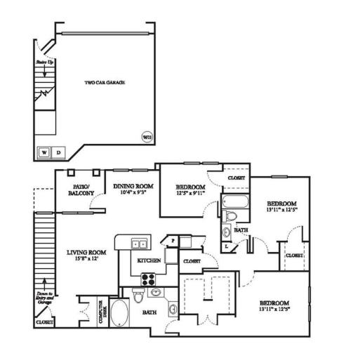 F2 Upgraded Floor Plan | 3 Bedroom with 2 Bath | 1644 Square Feet | The Raveneaux | Apartment Homes