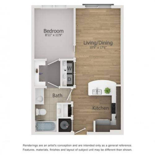 Cinerama Floor Plan | 1 Bedroom with 1 Bath | 603 Square Feet | The Melrose | Apartment Homes