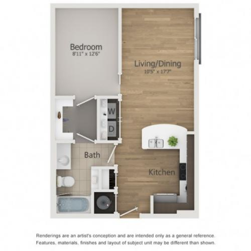 Roxy Floor Plan | 1 Bedroom with 1 Bath | 619 Square Feet | The Melrose | Apartment Homes