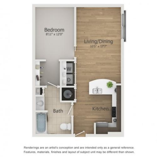 Roxy 2 Floor Plan | 1 Bedroom with 1 Bath | 619 Square Feet | The Melrose | Apartment Homes