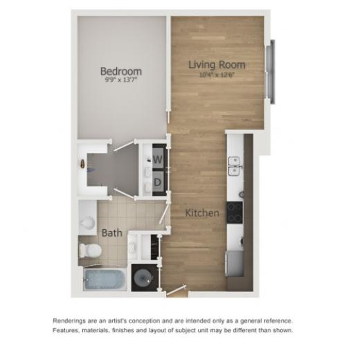 Balboa Floor Plan | 1 Bedroom with 1 Bath | 650 Square Feet | The Melrose | Apartment Homes