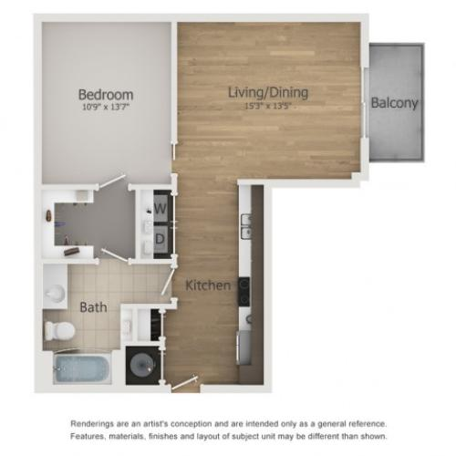Sundance Floor Plan | 1 Bedroom with 1 Bath | 714 Square Feet | The Melrose | Apartment Homes