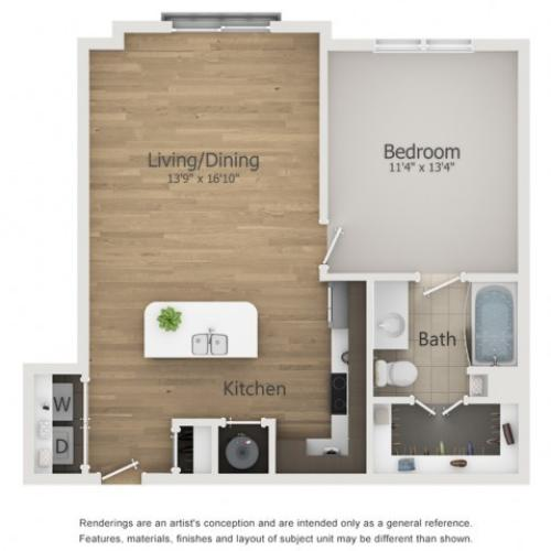 Globe 2 Floor Plan | 1 Bedroom with 1 Bath | 721 Square Feet | The Melrose | Apartment Homes