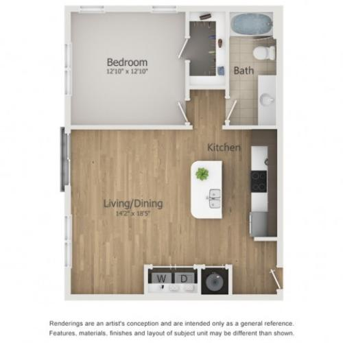 Embassy Floor Plan | 1 Bedroom with 1 Bath | 782 Square Feet | The Melrose | Apartment Homes