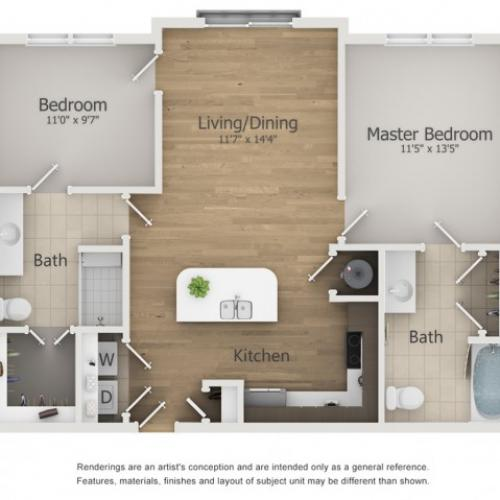 Grande Floor Plan | 2 Bedroom with 2 Bath | 942 Square Feet | The Melrose | Apartment Homes