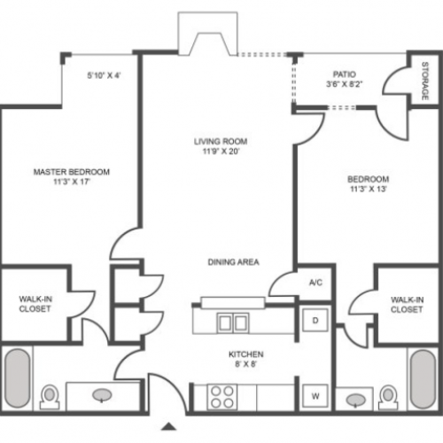 Oak Renovated Floor Plan | 2 Bedroom with 2 Bath | 959 Square Feet | The Arbors of Las Colinas | Apartment Homes