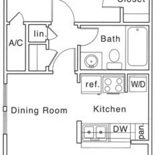 Bf Floor Plan | 1 Bedroom with 1 Bath | 685 Square Feet | The Regatta | Apartment Homes