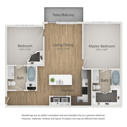Commodore Floor Plan | 2 Bedroom with 2 Bath | 952 Square Feet | The Melrose | Apartment Homes