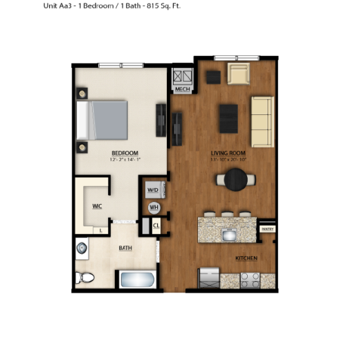 AA3 Floor Plan | 1 Bedroom 1 Bath | 815 Square Feet | Parc Westborough | Apartment Homes