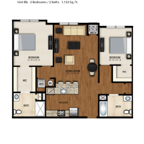 BB Floor Plan | 2 Bedroom 2 Bath | 1132 Square Feet | Parc Westborough | Apartment Homes