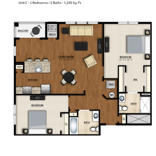 C Floor Plan | 2 Bedroom 2 Bath | 1230 Square Feet | Parc Westborough | Apartment Homes