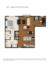 A1 Floor Plan | 1 Bedroom 2 Bath | 873 Square Feet | Parc Westborough | Apartment Homes