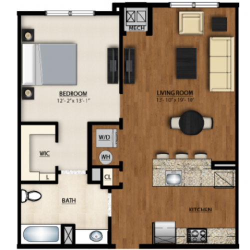 AA1 Floor Plan | 1 Bedroom 1 Bath | 792 Square Feet | Parc Westborough | Apartment Homes