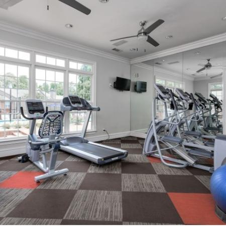 Image of fitness center at Retreat at Peachtree City with cardio machines and exercise balls