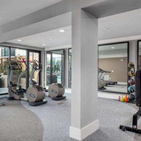 View of Fitness Center, Showing Cardio Machines, Bench, and Medicine Balls at Cottonwood Westside Apartments