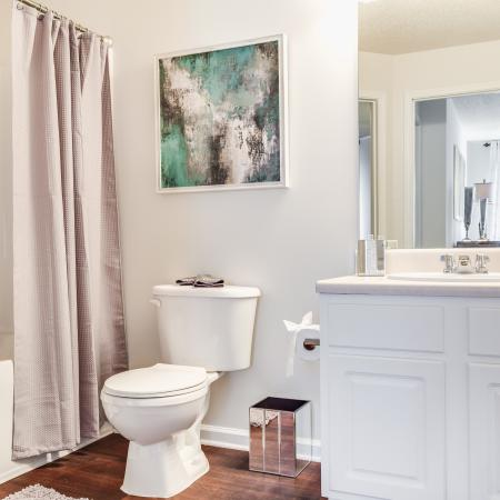 View of Classic Apartment Interior, Showing Bedroom With Single Vanity, Toilet, and Garden Tub at Arbors at Fairview Apartments