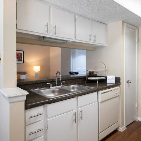 View of Classic Apartment Interior, Showing Kitchen With Double Sink, Pantry, Countertops, Cabinets and Plank Flooring at Blue Swan Apartments