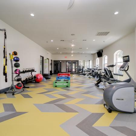 View of Fitness Center, Showing Cardio Equipment, Stability Balls, TRX Straps, and Stairmaster at Bluffs at Vista Ridge Apartments