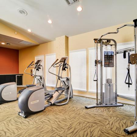 View of Fitness Center, Showing Ellipticals, Water Fountain, and Cable Machine at The Oaks of North Dallas Apartments
