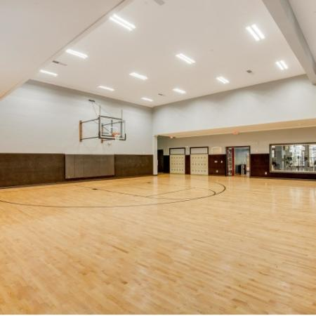 Image of an indoor basketball court