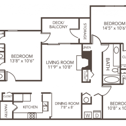 Elm Floor Plan | 3 Bedroom with 2 Bath | 1212 Square Feet | 1070 Main | Apartment Homes
