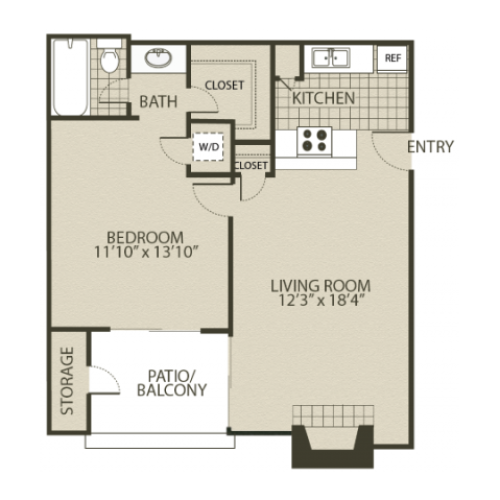 A1 Floor Plan | 1 Bedroom with 1 Bath | 600 Square Feet | 4804 Haverwood | Apartment Homes